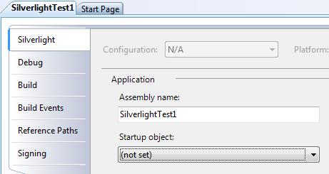 Silverlight project properties